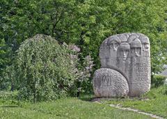 Stone monument in honor of the founding of Nizhny Novgorod,Russia Stock Photos
