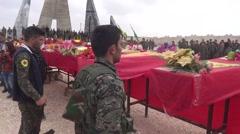 Syria, Kobani - February, 2016: Funeral, SDF,ISIS war, SDF – YPJ,YPG Stock Footage