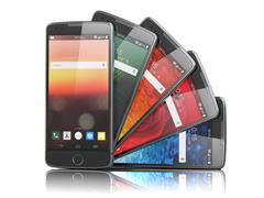 Smartphones with different screens isolated on white. Mobile communications c Stock Illustration