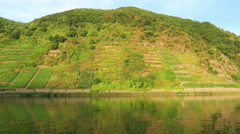 Vineyards at hills of Moselle river in Rhineland-Palatinate. (Germany) Stock Footage