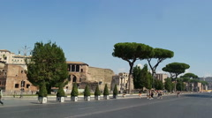 ROME, ITALY - SEPTEMBER 4, 2016. Via dei Fori Imperiali boulevard. Stock Footage