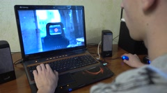 Man Playing Shooter Computer Game Stock Footage