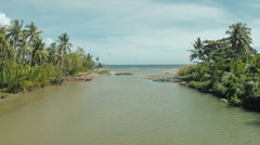 The river flows into the sea. The beautiful nature of the Philippines Stock Footage