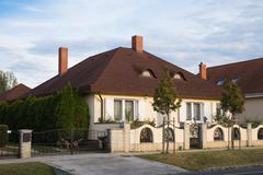 Detached house. Well-kept. Beautiful house. Detached house with ornamental trees Stock Photos