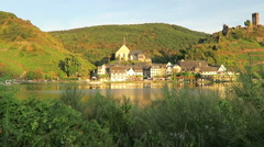 Cityscape of village Beilstein at Moselle river in Germany. Evening sun. Stock Footage