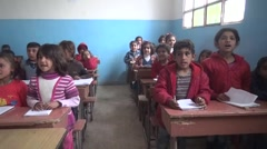 February 22, 2016: children singing in school, Syria Stock Footage