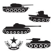 Vector silhouettes of old Soviet tanks Stock Illustration