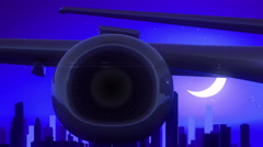 Chicago Illinois USA America Airplane Take Off Moon Night Blue Skyline Travel Stock Footage