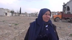 Syria - February 22, 2016: Interview with old woman, ISIS war Arkistovideo
