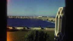 1976: coastline panning shot with a vintage film look. GREECE Stock Footage