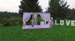 A wedding altar in white and lavender colors Stock Footage