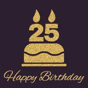The birthday cake with candles in the form of number 25 icon. Birthday symbol Stock Illustration