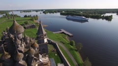 Kizhi island Russian Karelia old wooden architecture from above. Stock Footage