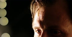 A drop of sweat is coming down on man's forehead. Stock Footage