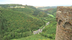 View into the Brodenbach valley at Hunsrueck Stock Footage