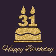 The birthday cake with candles in the form of number 31 icon. Birthday symbol Stock Illustration