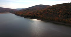 Pepacton Reservoir Andes New York Fall Foliage beach shadows Stock Footage