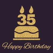 The birthday cake with candles in the form of number 35 icon. Birthday symbol Stock Illustration