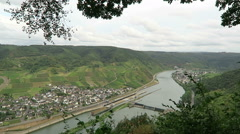 Panoramic view of village Bruttig at Moselle river in Rhineland-Palatinate Stock Footage