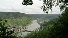 Panoramic view of village Bruttig at Moselle river in Rhineland-Palatinate (G Stock Footage