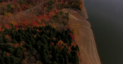 Pepacton Reservoir Andes New York Fall Foliage beach road flyover tilt Stock Footage