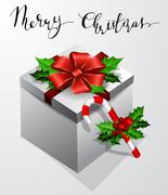 Gift box with bow Christmas Card Stock Illustration