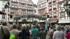 Wine festival in Bernkastel at Moselle river Stock Footage