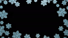 Festive frame made of glittering snowflake lights.  Loopable background. Stock Footage