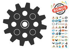 Gearwheel Icon With 2017 Year Bonus Pictograms Stock Illustration