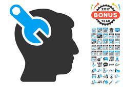 Head Neurology Wrench Icon With 2017 Year Bonus Symbols Stock Illustration