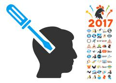 Head Screwdriver Tuning Icon With 2017 Year Bonus Pictograms Stock Illustration