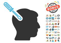 Head Surgery Screwdriver Icon With 2017 Year Bonus Symbols Stock Illustration