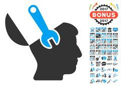Mind Wrench Surgery Icon With 2017 Year Bonus Pictograms Stock Illustration