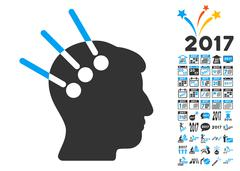Neural Interface Icon With 2017 Year Bonus Symbols Stock Illustration