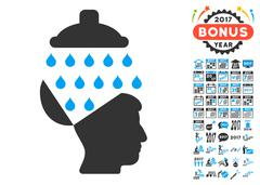 Open Brain Shower Icon With 2017 Year Bonus Pictograms Stock Illustration