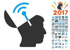 Open Mind Radio Interface Icon With 2017 Year Bonus Symbols Stock Illustration