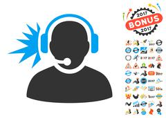 Operator Headphones Signal Icon With 2017 Year Bonus Pictograms Stock Illustration