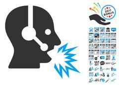 Operator Shout Icon With 2017 Year Bonus Symbols Stock Illustration