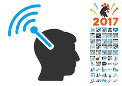 Radio Neural Interface Icon With 2017 Year Bonus Symbols Stock Illustration