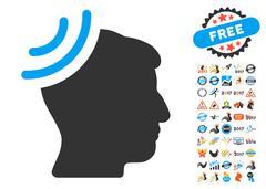Radio Reception Brain Icon With 2017 Year Bonus Pictograms Stock Illustration
