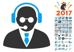 Support Manager Icon With 2017 Year Bonus Pictograms Stock Illustration