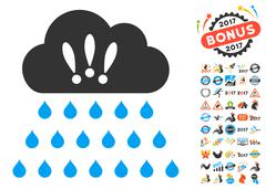 Thunderstorm Rain Cloud Icon With 2017 Year Bonus Pictograms Stock Illustration