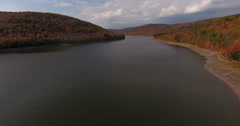 Pepacton Reservoir Andes New York Fall Foliage water flyover low Stock Footage