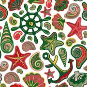 Vector illustration of seamless pattern with ocean shells starfish anchor wheel Piirros