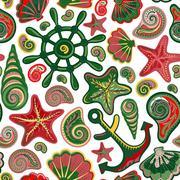 Vector illustration of seamless pattern with ocean shells starfish anchor wheel Stock Illustration