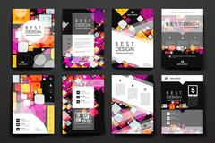 Set of modern design banner template in abstract background style Stock Illustration