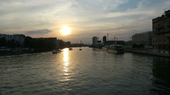 Tourist boat driving along the spree river in Berlin. Sunset. Stock Footage