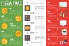 Pizza Time infographic elements. Flat concept web vector illustration. Pizzeria Stock Illustration