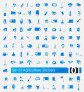 Set of agriculture stickers Stock Illustration
