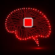 Neon brain. Cpu. Circuit board. Abstract technology background Stock Illustration